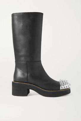 Miu Miu Spiked Leather Boots - Black