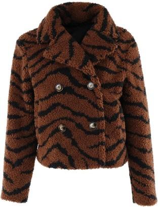 Fabulous Furs Cropped Sherpa Jacket in Tiger Size 2X