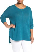 Sejour Wool & Cashmere Scoop Neck Sweater (Plus Size)