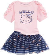 Hello Kitty 2-Pc. Ruched-Sleeve Top & Striped Skirt Set, Baby Girls (0-24 months)