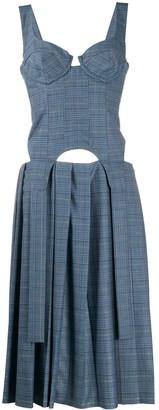 Natasha Zinko Check-Print Corset Midi Dress