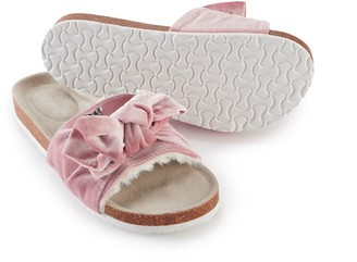Pretty You London Velour Bow Footbed Sandal In Pink