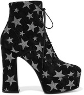 Saint Laurent Candy Glittered Suede Platform Ankle Boots - IT37