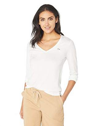 Lacoste Women's LONG SLEEVE CLASSIC SUPPLE JERSEY V-NECK T-SHIRT Shirt