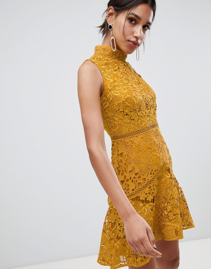 True Decadence sleeveless high neck lace skater in mustard