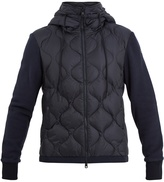 Moncler Hooded contrast-panel quilted down jacket