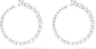 Melissa Kaye 18kt white gold and diamond Aria hoop earrings