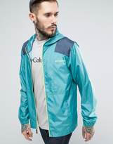 Columbia Flashback Windreaker Jacket Lightweight Hooded 2 Tone In Blue