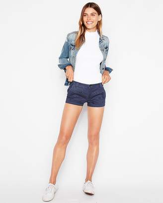Express Low Rise Floral Studded Blue Twill Shorts