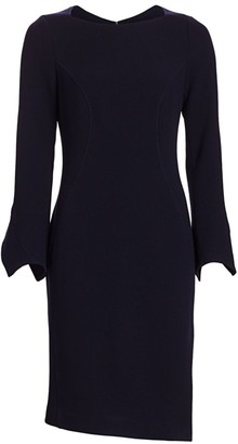 Teri Jon By Rickie Freeman Bell Sleeve Pearl Button Sheath Dress