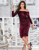 Jessica Wright Velvet Mesh And Frill Bodycon Dress