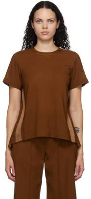 Sacai Orange Wool Pleated T-Shirt