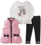 Kids Headquarters 3-Pc. Dots and Bows Vest, T-Shirt and Denim Leggings Set, Toddler Girls (2T-5T)