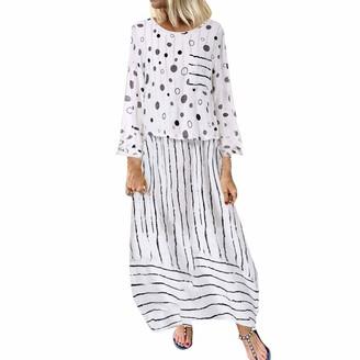 Saihui Women Dress Vintage Women Maxi Dress Long Sleeves Pockets O Neck Plus Size Cotton Linen Loose Robe Dresses Summer Ethnic Polka Dots Striped Fake Two-Piece Kaftan Dress (Yellow 4XL)