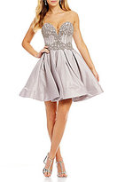 Glamour by Terani Couture Strapless Beaded Bodice Fit-And-Flare Dress