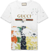 Gucci Slim-Fit Tie-Dyed Distressed Printed Cotton-Jersey T-Shirt