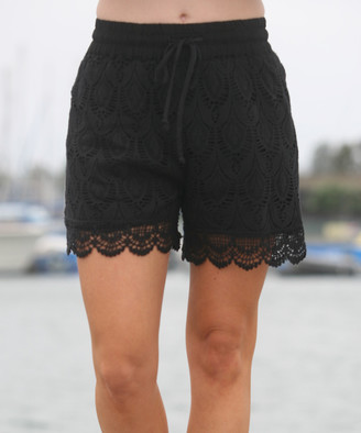 Ananda's Collection Women's Casual Shorts Black - Black Crochet Shorts - Women & Plus