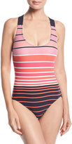MICHAEL Michael Kors Striped One-Piece Swimsuit