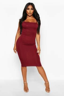 boohoo Ribbed Low Back Midi Dress