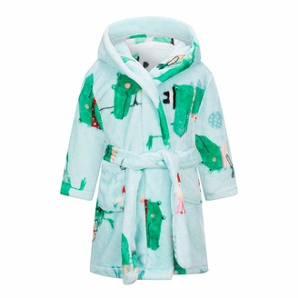 Hstyle Flannel Dressing Gown Robe Kids Hooded Bathrobe Plush Soft Nightgown Sleepwear with Pocket 1-7 Years