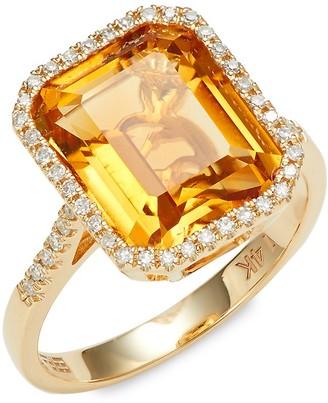 Effy 14K Yellow Gold, Citrine Diamond Ring