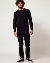 Asos Crew Neck Sweater with Elbow Patches In Cotton
