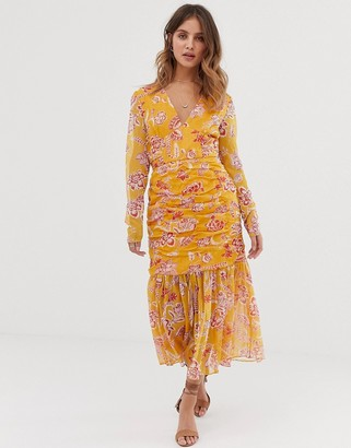Stevie May Flourishing midi dress with ruched detail and pleated hem-Orange