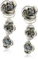 Badgley Mischka Flower Linear Clip Earrings