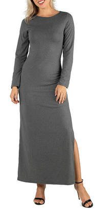 24/7 Comfort Apparel Long Sleeve Side Slit Maxi