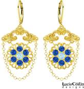 Handmade in USA Chandelier Earrings by Lucia Costin Crafted in 24K Gold Plated over .925 Sterling Silver with Swarovski Crystals, Delicate Flowers, Fancy Elements and Falling Chains