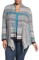 Nic+Zoe Plus Size Women's 'Shaded Stripes' Cardigan