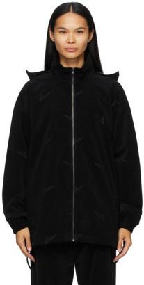 we11done Black High-Neck Logo Zip Jacket