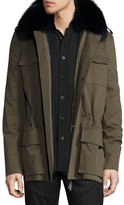 Yves Salomon Cashmere Field Jacket w/Fur Trim, Tan/Camel