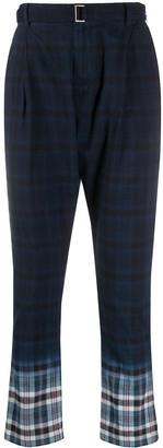 Sacai Madras plaid straight leg trousers