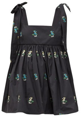 Cecilie Bahnsen Hawthorn Floral-embroidered Poplin Top - Black Multi