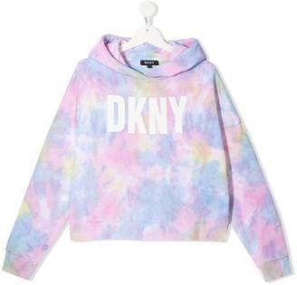 DKNY TEEN tie-dye print cotton hoodie