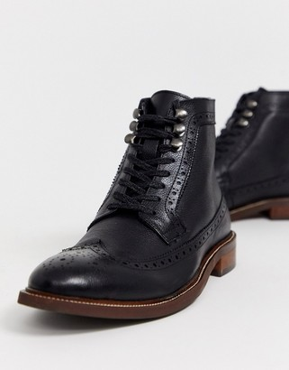 Dune lace up leather hiker boot in black