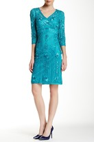 Sue Wong Rosette Embroidered Dress N5366