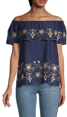 Fever Off-The-Shoulder Embroidery Top