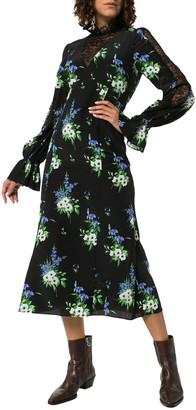 Les Rêveries Lace Inset Floral Silk Dress