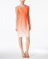 Connected Petite Belted Striped Sheath Dress