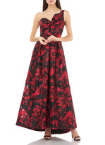 Carmen Marc Valvo Sweetheart One-Shoulder Printed Gown w/ Bow Detail