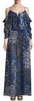 Nicole Miller 3/4 Sleeve Tarnished Textile Print Maxi Dress, Multi