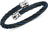 Charriol Twisted Cable Bypass Bracelet in Black and Dark Blue and Black PVD Gunmetal Stainless Steel