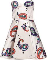 MSGM Strapless printed satin mini dress
