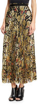 Roberto Cavalli Pleated Metallic-Embroidered Maxi Skirt, Gold