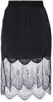 Diesel lace overlay gathered skirt - women - Rayon/Viscose - S