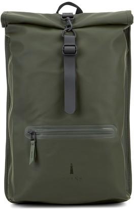 Rains Rolltop Green Water-resistant Rubberised Backpack