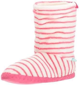 Joules Women's Homestead Hi-Top Slippers, Off- Off-White (Raspberry Stipe), S 36/37 EU