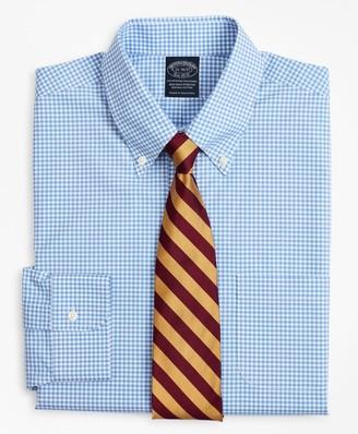 Brooks Brothers Stretch Big & Tall Dress Shirt, Non-Iron Poplin Button-Down Collar Gingham